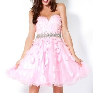401c7c85a53 STUNNING PINK FEATHER TULLE STRAPLESS PROM DRESS